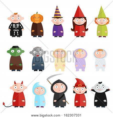 Children with costumes, witch, mummy, ghost, death, vampire, devil, pumpkin. Cheerful children figures isolated on white.
