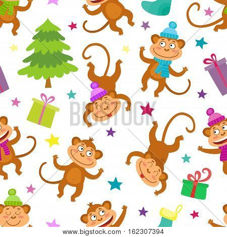 Cute Christmas Seamless Pattern with monkeys and stars. Use for wallpaper, textiles, pattern fills, web page background