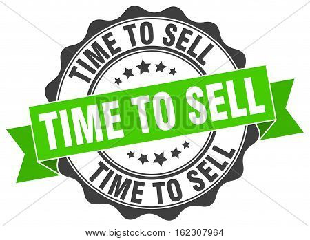 time to sell. stamp. sign. seal. round. retro. ribbon