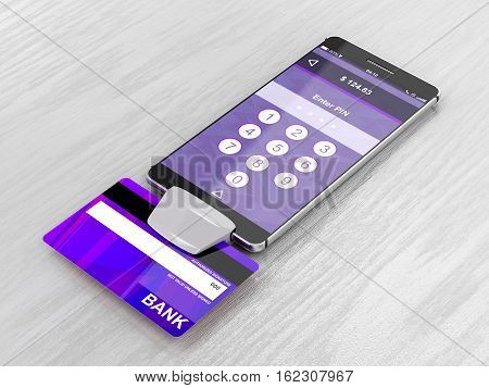 Paying with credit card on smartphone with bank card reader, 3D illustration