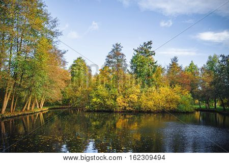Autumn Scenery With A Small Lake