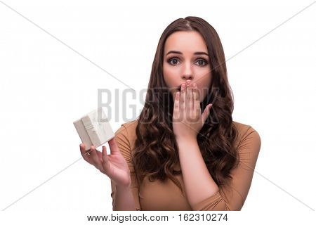 Woman receiving marriage proposal isolated on white