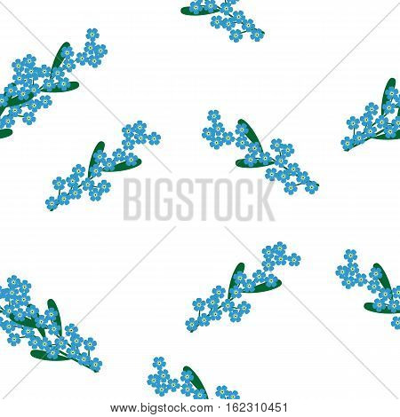 Forget-me-nots and herb seamless print, pattern on white background