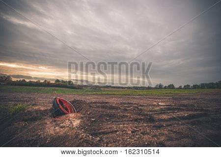 Electrical Cable On An Empty Construction Site