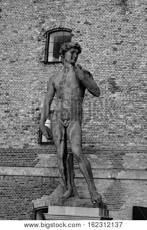 Copy of Michelangelo's David statue in Copenhagen in b/w Denmark