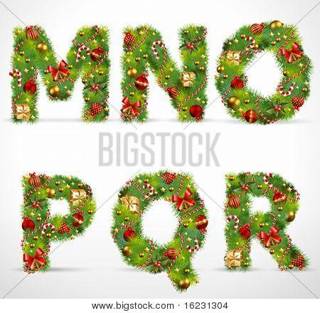 MNOPQR, vector christmas tree font