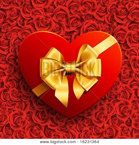 Red heart shape gift with golden bow on roses background