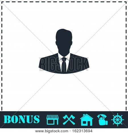 Businessman icon flat. Simple vector symbol and bonus icon