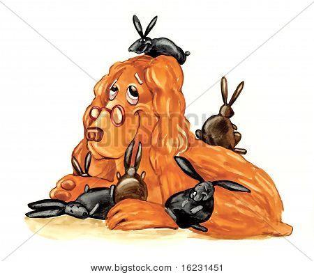 Perro Spaniel como pequeños conejitos nodriza