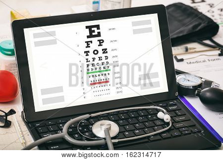Eye Vision Test On A Doctor's Computer Screen
