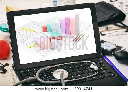 Data analysis on a laptop computer's screen