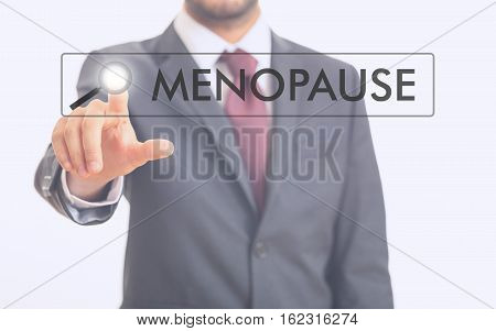 Man Pointing At Word Menopause