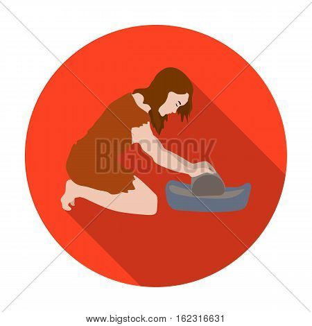 Cavewoman with grindstone icon in flat style isolated on white background. Stone age symbol vector illustration.