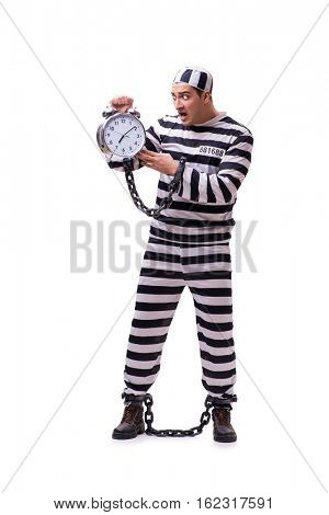Man prisoner with clock isolated on white