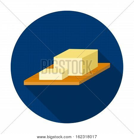 Bar of Butter on cutting board icon in flat style isolated on white background. Milk product and sweet symbol vector illustration.
