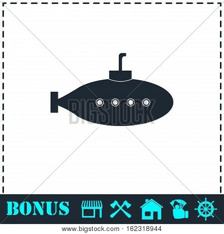 Submarine with periscope icon flat. Simple vector symbol and bonus icon