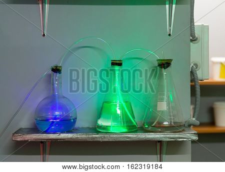 Flasks with chemical reagents