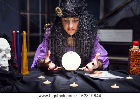 Sorceress while practising witchcraft