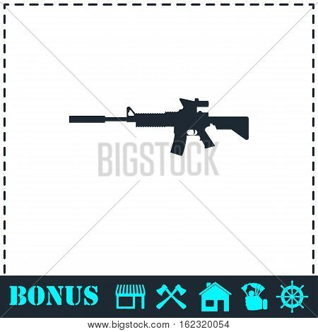 Assault carbine icon flat. Simple vector symbol and bonus icon