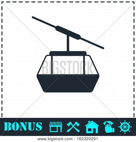 Ropeway cabines icon flat. Simple vector symbol and bonus icon