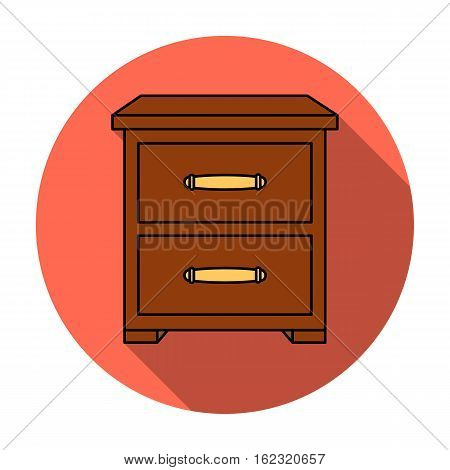 Bedside table icon in flat style isolated on white background. Furniture and home interior symbol vector illustration.