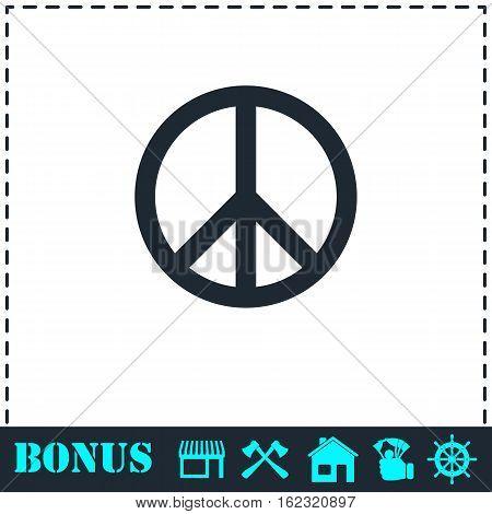 Hippie Peace icon flat. Simple vector symbol and bonus icon