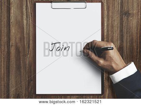 Join Us Register Participate Membership Concept