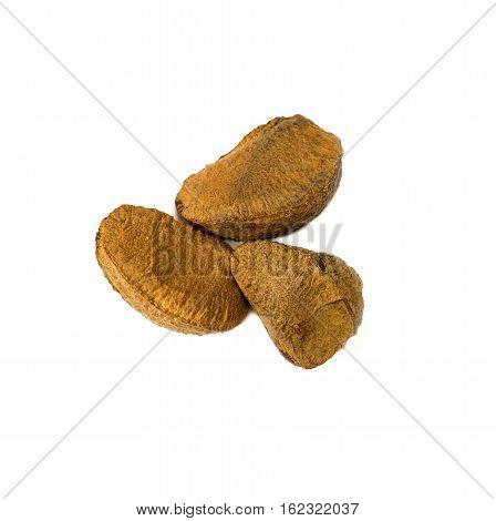 brasilian nuts on white background - VEGETABLE