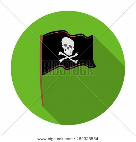 Pirate flag icon in flat style isolated on white background. Pirates symbol vector illustration.