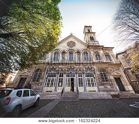 Hagia Triada Greek Orthodox Church facade near Taksim square in Istanbul Turkey. The building was erected in 1880 and is considered the largest Greek Orthodox shrine in Istanbul today