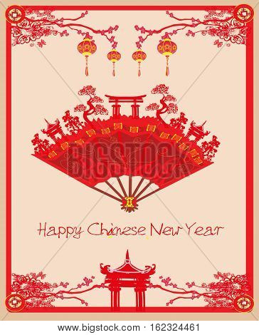 Beautiful Japan abstract ancient buildings - Happy Chinese New Year card , vector illustration