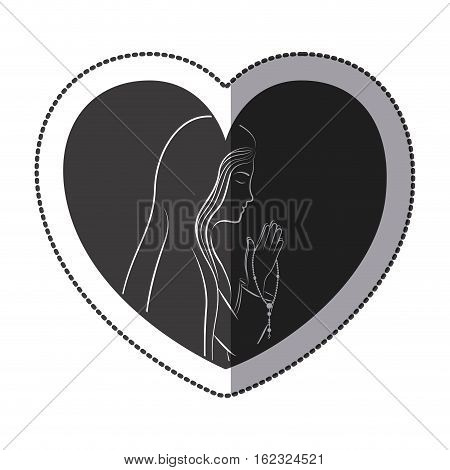 Mary inside heart icon. Religion faith pray and belief theme. Isolated design. Vector illustration