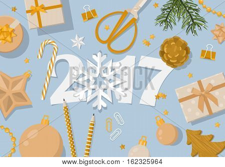 Happy New Year 2017 Creative Banner Design In Flat Modern Style. Paper Cut Numbers And Decorations I