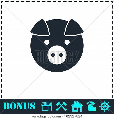 Pig icon flat. Simple vector symbol and bonus icon