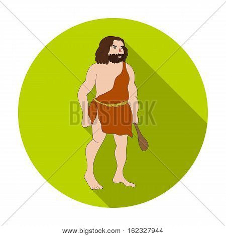 Primitive man with truncheon icon in flat style isolated on white background. Stone age symbol vector illustration.