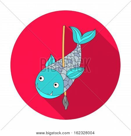 Fish on the spear icon in flat style isolated on white background. Stone age symbol vector illustration.