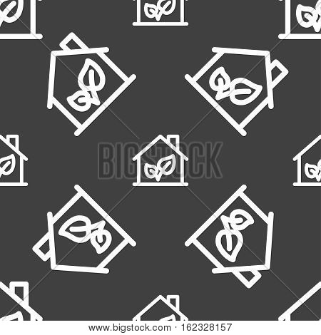 Bio Houses Icon Sign. Seamless Pattern On A Gray Background. Vector