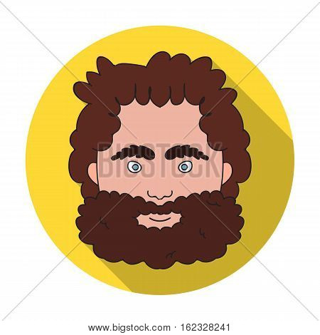 Caveman face icon in flat style isolated on white background. Stone age symbol vector illustration.