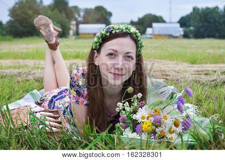 Girl Lying On Plaid