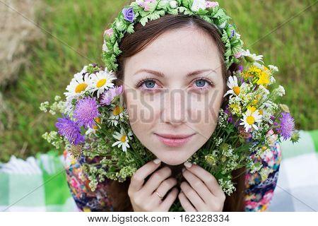 Girl Sitting With Splitting Flower Bouquet
