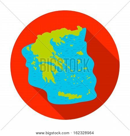 Greece territory icon in flat style isolated on white background. Greece symbol vector illustration.