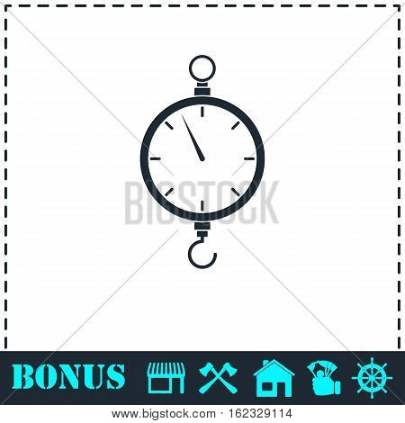 Spring scale icon flat. Simple vector symbol and bonus icon