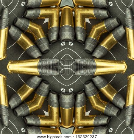 Seamless texture of ammunition and targets. Decorative packaging paper with charges. Sales of weapons and ammunition. Background caliber ammunition .22