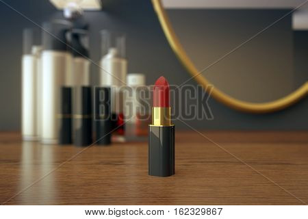 Close up of wooden dressing table with red lipstick mirror and various other beauty products. 3D Rendering