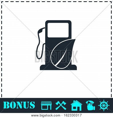 Gas station with leaves icon flat. Simple vector symbol and bonus icon