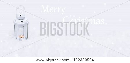 Composition of Christmas flashlight in snow. Isolated on white background.