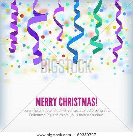 Merry Christmas vector streamers on confetti background. Festive streamers celebration background. Streamers and curved swirl paper ribbon. Streamers and confetti party popper for banner or background