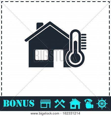 House temperature icon flat. Simple vector symbol and bonus icon