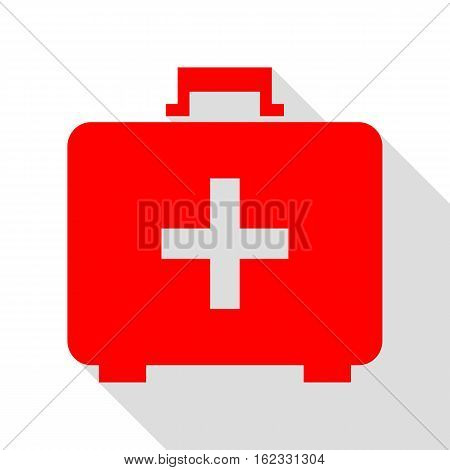 Medical First aid box sign. Red icon with flat style shadow path.