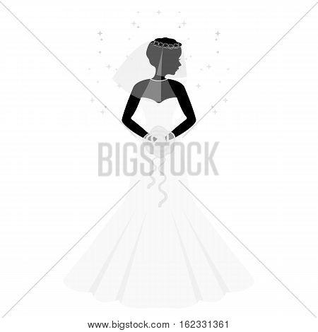 Bride icon in monochrome design isolated on white background. Bride symbol stock vector illustration.